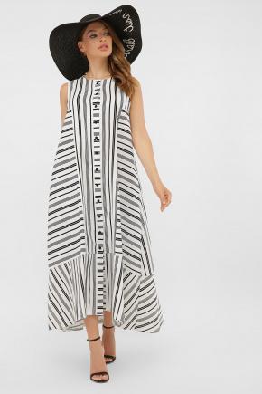 Платье Дасия б/р. Цвет: белый-черная полоса1