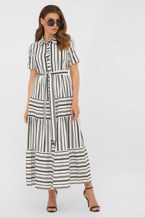платье Дженни к/р. Цвет: белый-черная полоса1