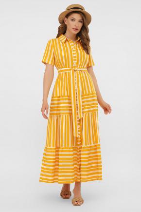 платье Дженни к/р. Цвет: горчица-белая полоса1