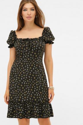 платье Даная к/р. Цвет: черный-м. цветы