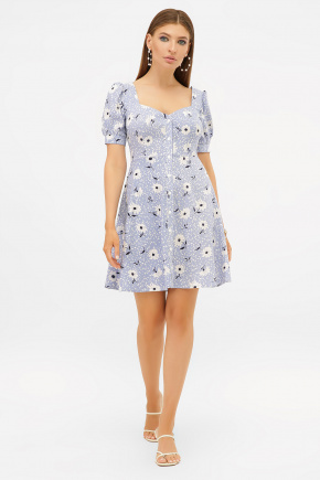 платье Прасковья 1 к/р. Цвет: голубой-бел. ромашка