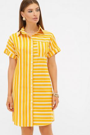 платье-рубашка Филена к/р. Цвет: горчица-белая полоса1