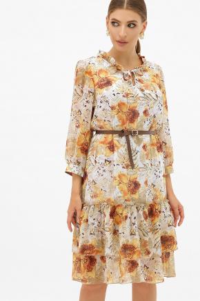 платье Элисон 3/4. Цвет: белый-цветы оранж.