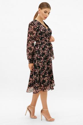 платье Алеста д/р. Цвет: черный-лепестки