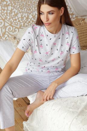 Пижама Джойс-1. Цвет: серый-фламинго