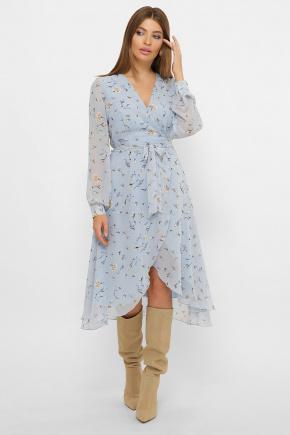 платье Алеста д/р. Цвет: голубой-цветы