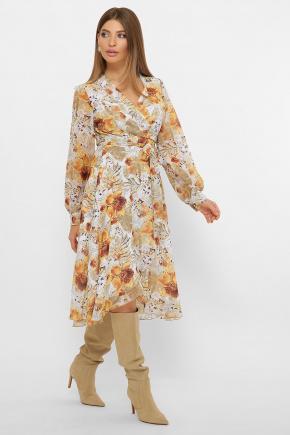 платье Алеста д/р. Цвет: белый-цветы оранж.