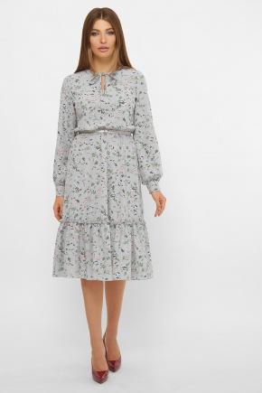 платье Агафия д/р. Цвет: серый-цветочки