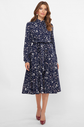 платье Изольда д/р. Цвет: синий-цветочки