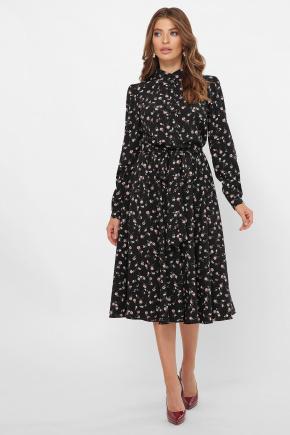 платье Изольда д/р. Цвет: черный-м. цветы