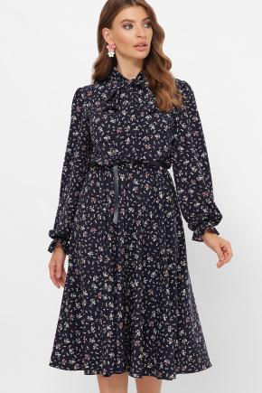 платье Дельфия д/р. Цвет: синий-букетик