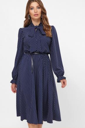 платье Дельфия д/р. Цвет: синий - белый м. горох