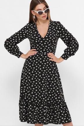 Платье Данита д/р. Цвет: черный-белый м.цветок