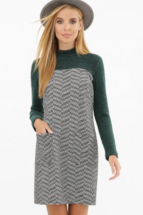 Платье Дилора д/р. Цвет: букле зигзаг-изумруд
