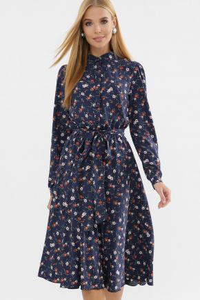 платье Изольда д/р. Цвет: синий-оранж.м.цветок