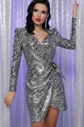 Платье Николь д/р. Цвет: зебра черный-серебро