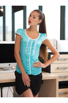 блуза Монро к/р. Цвет: мята-белая отделка