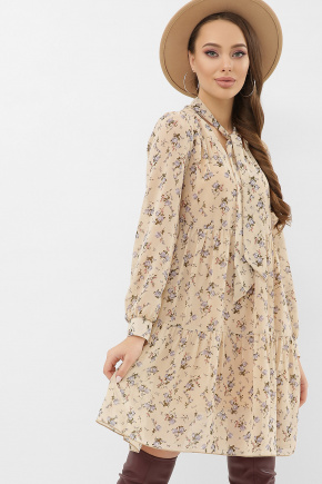 Платье Мара д/р. Цвет: бежевый-голубой цветок