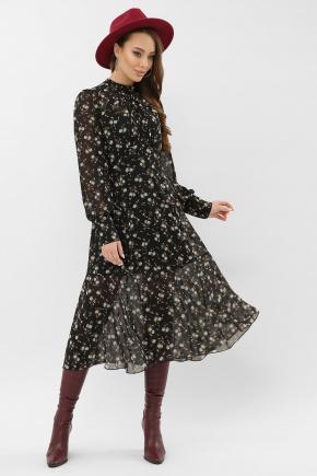 Платье Мануэла д/р. Цвет: черный-голубой цветок