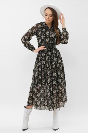 платье Мариэтта д/р. Цвет: черный-букет
