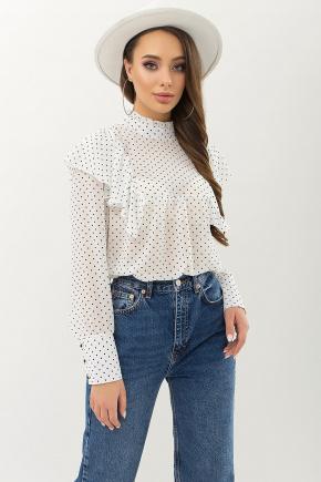 Блуза Вета д/р. Цвет: белый-черный м. горох