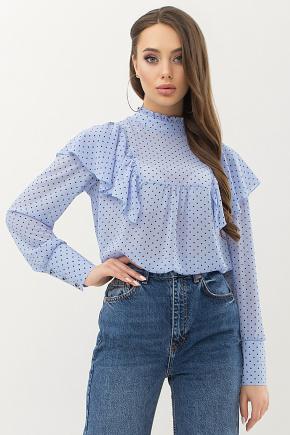 Блуза Вета д/р. Цвет: голубой-черный м.горох
