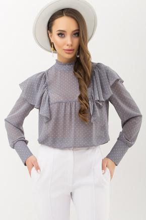 Блуза Вета д/р. Цвет: серый-пудра м.горох