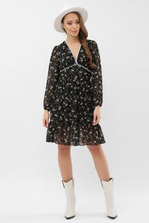 платье Бернарда д/р. Цвет: черный-голубой цветок