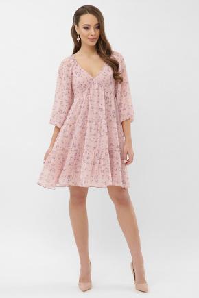 платье Хельга д/р. Цвет: пудра-сиреневый цветок