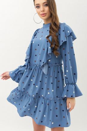 платье Лесса д/р. Цвет: джинс-горох цветной