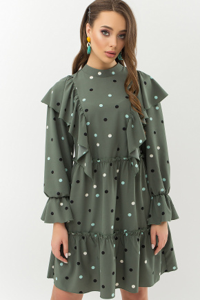 Платье Лесса д/р. Цвет: хаки-горох цветной