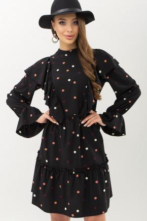 Платье Лесса д/р. Цвет: черный-горох цветной