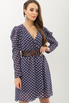 Платье Лайса д/р. Цвет: синий - белый горох