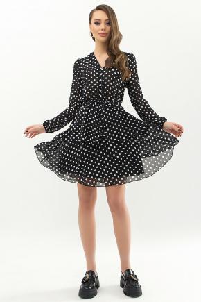Платье Алора д/р. Цвет: черный-белый горох