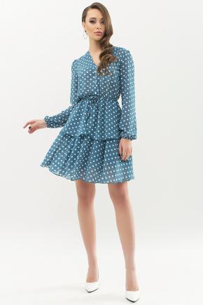 Платье Алора д/р. Цвет: бирюза-белый горох