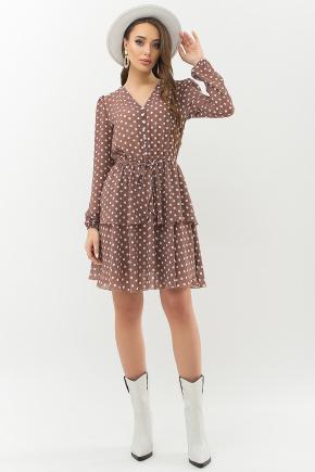 Платье Алора д/р. Цвет: капучино-белый горох