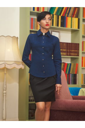 блуза Катарина д/р. Цвет: темно синий
