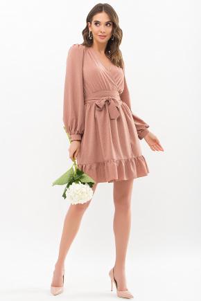 Платье Идэн д/р. Цвет: капучино-точка белая