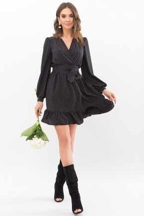 Платье Идэн д/р. Цвет: черный-точка белая