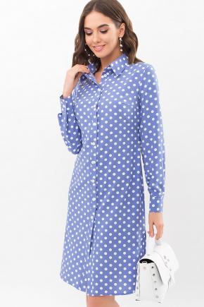 Платье-рубашка Элиза д/р. Цвет: джинс-белый горох
