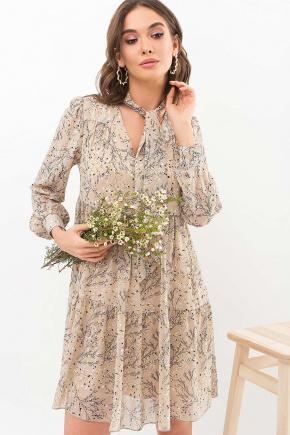 Платье Мара д/р. Цвет: бежевый-желтый м.цветок