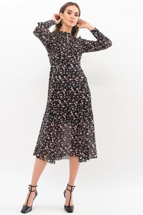 Платье Мануэла д/р. Цвет: черный-цветы