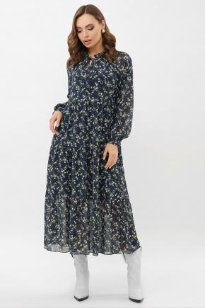 Платье Мариэтта д/р. Цвет: синий-белый м.цветы
