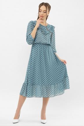 Платье Палома д/р. Цвет: бирюза-белый горох