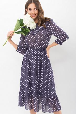 Платье Палома д/р. Цвет: синий - белый горох