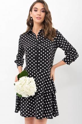 Платье Салима 3/4. Цвет: черный-белый горох