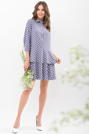 Платье Салима 3/4. Цвет: серый-белый горох