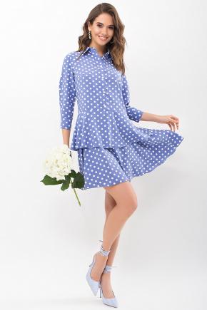 Платье Салима 3/4. Цвет: джинс-белый горох