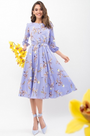 Платье Сауле 3/4. Цвет: джинс-ветка
