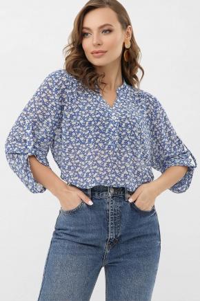 Блуза Севара 3/4. Цвет: голубой-м.цветы